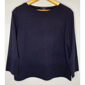 COS Navy Blue Boxy Fit Wool Sweater